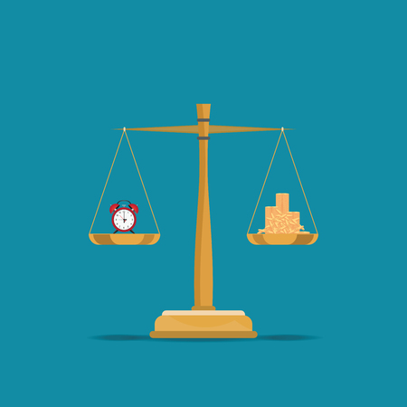 Balance time and money on scales, Current value of the world, conceptual flat design vector illustration. Illustration