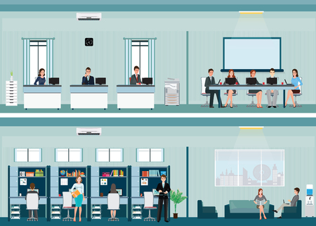 xerox: Office worker with office desk and Business meeting or teamwork, brainstorming in flat style vector illustration. Illustration