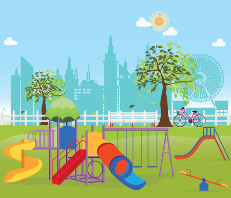 family park: Playground in the Public park in the City, Vector Flat illustration.