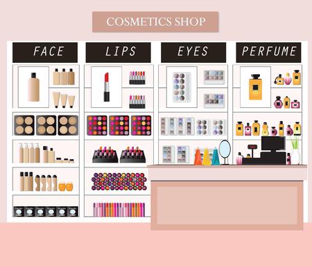 Los cosméticos almacenan el interior con los productos en estantes, compras, salón de belleza, productos cosméticos, salud y belleza ilustración vectorial.