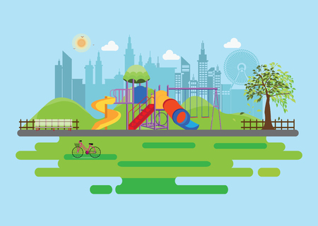 Playground in the Public park in the City, Vector Flat illustration.