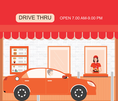 Drive thru fast food restaurant on a brick building, flat design vector illustration. Vettoriali
