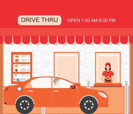 Drive thru fast food restaurant on a brick building, flat design vector illustration. Illustration
