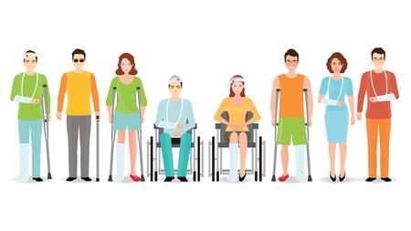 Bandiera isolata on white, persone disabili, uomo cieco, braccio rotto, persone su sedia a rotelle, braccia protesiche e gambe. Assistenza sanitaria e concetto di accessibilità, illustrazione vettoriale di caratteri cartoon.