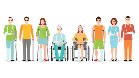 Disabled people banner isolated on white, Invalid persons, blind man, broken arm, people on wheelchair, prosthetic arms and legs. Healthcare assistance and accessibility concept, cartoon character  vector illustration.