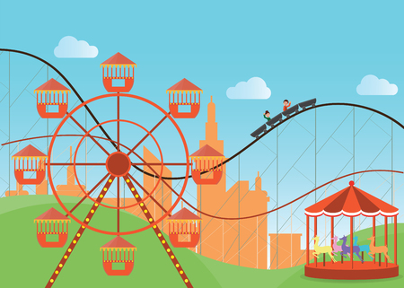 coaster: Amusement park in flat colorful with the Ferris wheel and the roller coaster attractions, vector illustration.