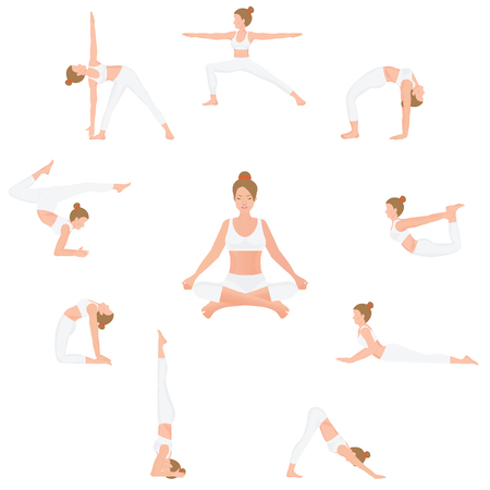 Women Yoga poses isolated on white background, Relax and meditate, Healthy lifestyle, Balance training , vector illustration. Illustration