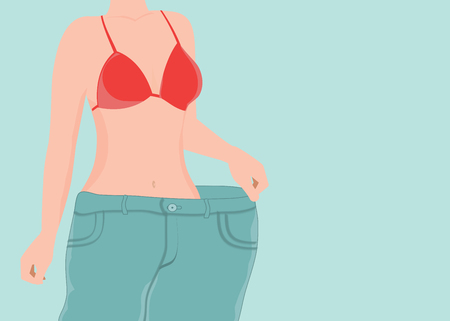 Fit young woman in loose blue jeans after losing weight , weight loss, diet, healthy conceptual vector illustration. Illustration
