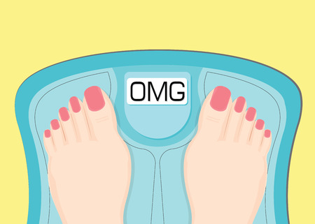 Women watching your weight in a scales, healthy conceptual vector illustration.