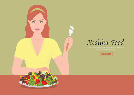 Young women holding fork to eating salad on the table, Healthy diet vector illustration. Illustration