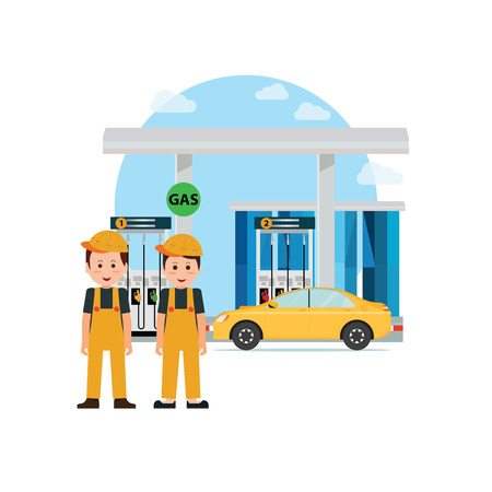 Gas petroleum petrol refill station, power and fuel vector illustration.