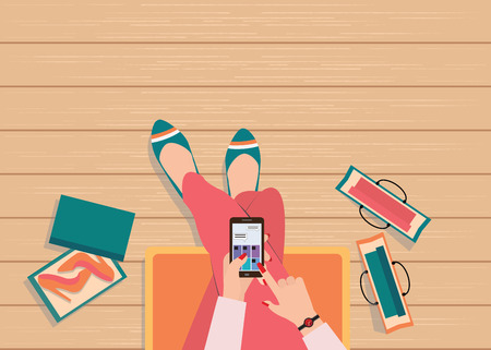 using smart phone: Online shopping concept with top view of female using smart phone to searching internet to shopping fashion.