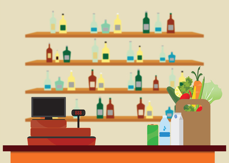 Supermarket interior with Cashier counter workplace, Shopping paper bag with food and drinks, shelves with products on blur background, Vector illustration.