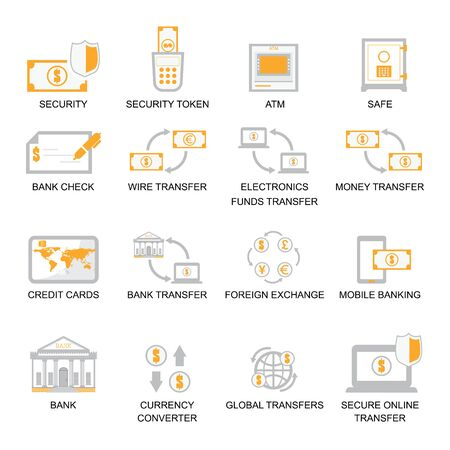 currency converter: Business Finance Icons Set, banking icon set vector illustration. Illustration