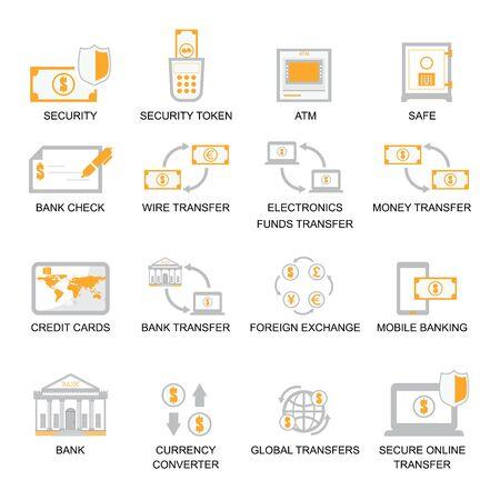 Set di icone di finanze aziendali, illustrazione vettoriale set di icone bancarie. Vettoriali