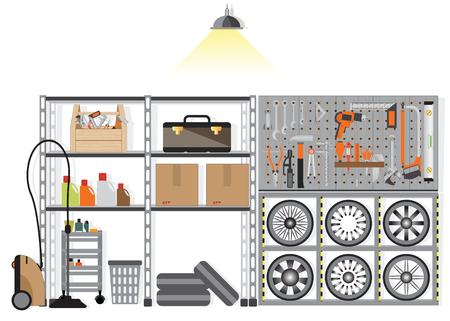 Innenraum Abstellraum mit Metall-Regal isoliert auf weißem Hintergrund, Aufbewahrungsbox an der Wand, flache Design Vektor-Illustration.