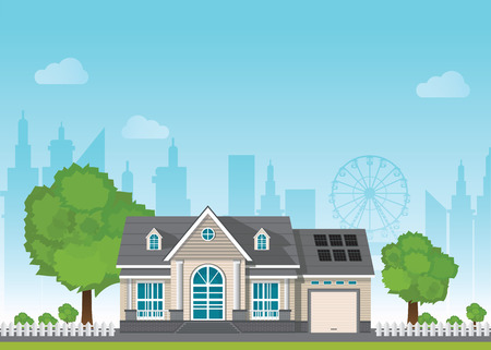 Private suburban smart home with sun solar module power control technology centralized systems on the background of the city, Vector illustration in flat style.