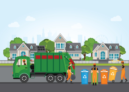 City waste recycling concept with garbage truck and garbage collector on village landscape background. Vectores
