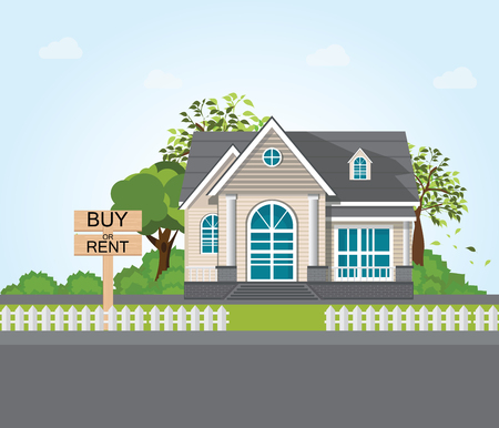 Textnachricht Kaufen Sie oder mieten Sie auf hölzernem Wegweiser auf modernem Haus- und Baumhintergrund. konzeptionelle Immobilien-Vektor-Illustration. Vektorgrafik