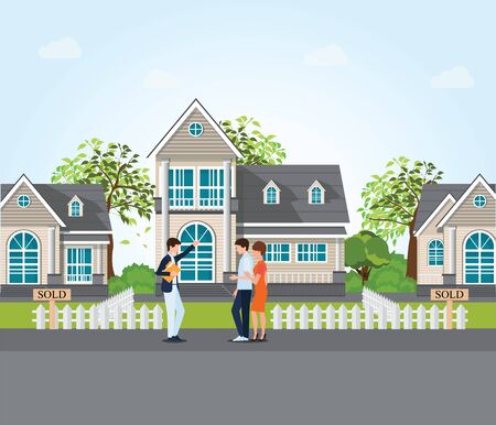 Real estate agent showing new house to couple, real estate conceptual vector illustration. Illustration