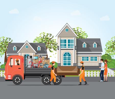 Accoppi le coppie nella nuova casa, mobilia commovente degli impiegati con i camion di servizio, l'illustrazione concettuale di vettore di movimento del bene immobile e della casa.