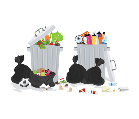 Garbage can full of overflowing trash, littering waste disposed around the dust bin isolated on white background,Vector illustration.