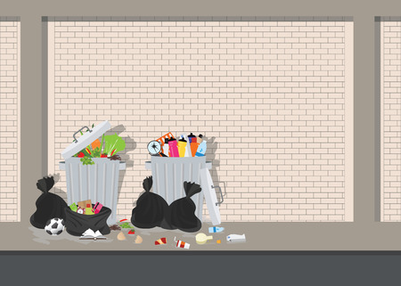 Garbage can full of overflowing trash, littering waste disposed around the dust bin on blick background, Vector illustration.