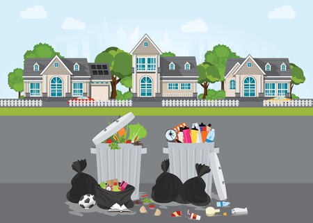 Rubbish and dirty area at the street of the village, Pile of garbage, various trash and waste material, environmental pollution and ecology conceptual vector illustration. Çizim