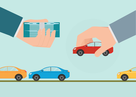 matching: Buying new car conceptual, Hand holding car and money, Rental or sale for car, Sell automobile,Flat style vector illustration.