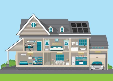 Moderne home design exterieur en interieur kamer met meubilair. Vlakke stijl vector illustratie.