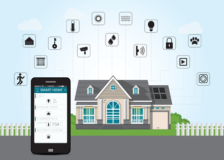 Smart home with smart phone technology conceptual system with centralized control of lighting, heating, security and video surveillance, Flat design style modern vector illustration.
