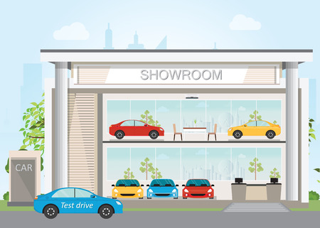 Modern car dealership showroom interior and exterior, Includes cars on the display and test drive car ,flat design vector illustration.