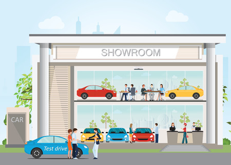 Modern car dealership showroom with reception customer service, visitors buying new car and salesman to present customer to test drive car, flat design vector illustration. Vettoriali