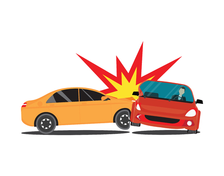 wreck: Auto accident involving two cars, accident car isolated on white background, conceptual Vector Illustration.
