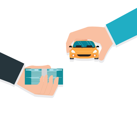 Buying new car conceptual, Hand holding car and money, Rental or sale for car, Sell automobile,Flat style vector illustration.