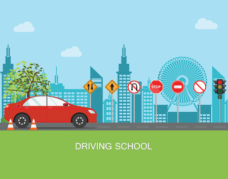 Escuela de manejo con coche y señal de tráfico, Las reglas de la carretera, Auto educación, Ilustración vectorial de práctica. Ilustración de vector