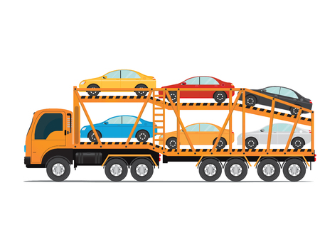 The trailer transports cars with new auto, truck trailer transport vehicles isolated on white background, vector illustration. Vettoriali