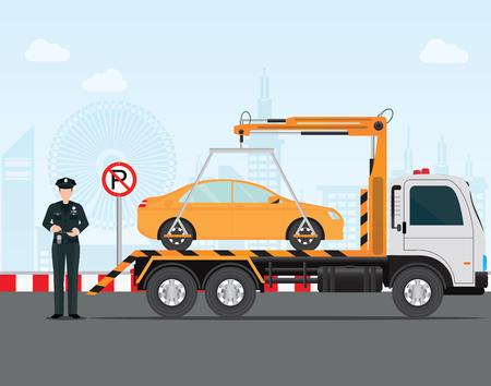 Verkehrspolizist schreibt ein Parkschein zum Auto in keinem Parkplatz und schleppt kein Parkplatzschild, Vektor-Illustration.
