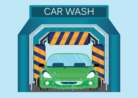 Automatic car wash, car wash foam water, car running through automatic car wash, automatic car wash in action vector illustration.