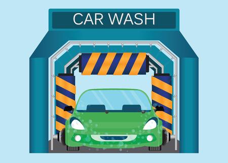 Automatische wasautomaat, autogas schuimwater, auto rennen door automatische autowas, automatische autowas in actie vectorillustratie.