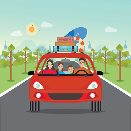 Happy family driving in red car on weekend holiday, Planning summer vacations, Travel by car, Summer holiday,Tourism and vacation theme. Flat design vector illustration. Vetores