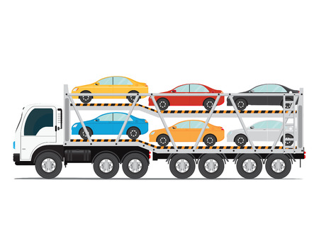 The trailer transports cars with new auto, truck trailer transport vehicles isolated on white background, vector illustration. Çizim