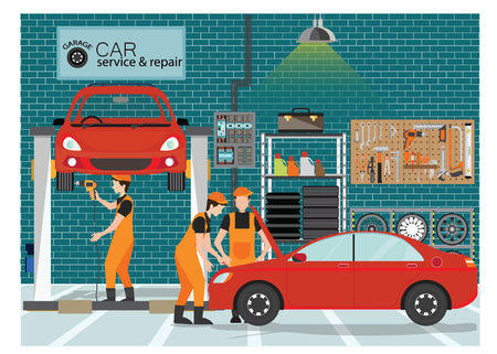 Car service and repair center or garage with worker, exterior building with the various departments, vector illustration..