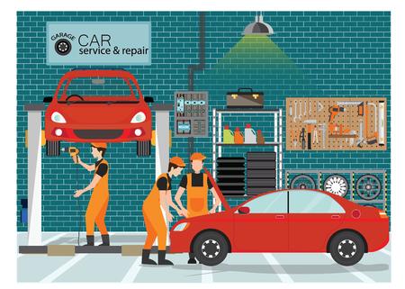 Centre de service et de réparation automobile ou garage avec ouvrier, bâtiment extérieur avec les différents départements, illustration vectorielle ..