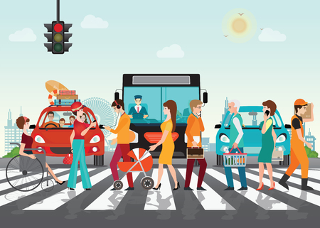 Crosswalk path on the road with cars, automobile stopped before pedestrian crossing perspective view vector illustration,