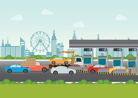 Driver cars passing through to pay road toll at highway toll booth, vector illustration.