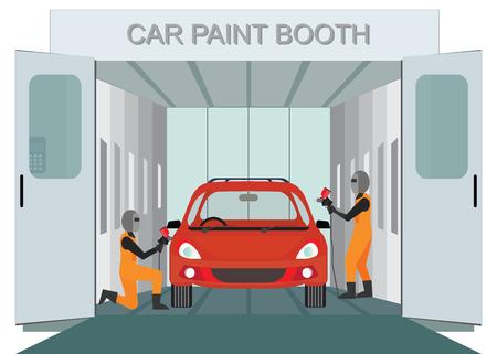 赤い色のペンキ、オート ガレージ ベクトル図を噴霧して車塗装ブース塗装メカニック ワーカー新車を自動します。  イラスト・ベクター素材
