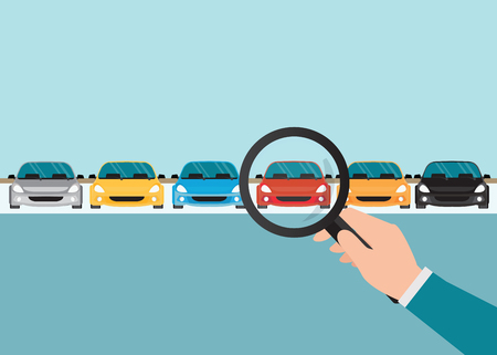 Magnifying glass in human hand with car, conceptual of choice flat style vector illustration. Stock Illustratie