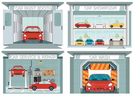 jobs: Set of car service station, showroom, carwash, paint booth ,service and repair shop interior concept posters, banners flat style design elements vector illustration. Illustration