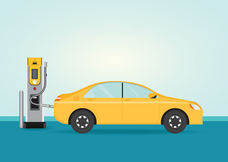 Electric cars charging at the charger station , Electromobility e-motion concept conceptual vector illustration.